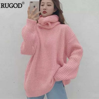 RUGOD Fashion Turtlenck Oversize Christmas Sweater Long Sleeve Solid Female Pullover Casual Women Winter Knitted Sweater