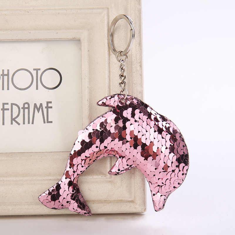 Golfinho bonito Chaveiro Pompom Glitter Lantejoulas Presentes Chaveiro para As Mulheres Saco Acessórios Do Carro do Anel Chave Chaveiro Llaveros Mujer