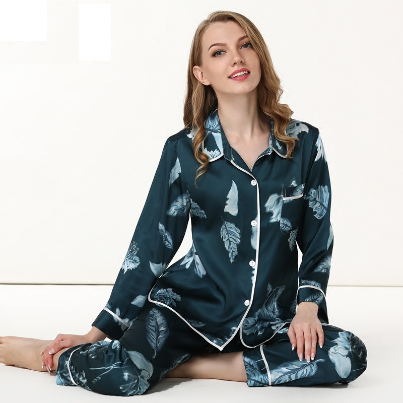 Womens Silk Satin Pajamas Set 2019 woman silk  long sleeve tops and full length pants set  Sleepwear Set Nightwear Loungewear