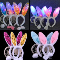 2018 NEW Cute Flashing Plush Fluffy Bunny Rabbit Ears Headband Bow Tail Costume Dress Up Rabbit Cosplay Hair Accessories