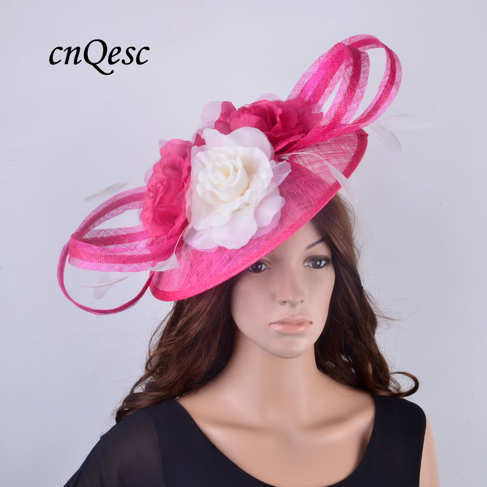 NEW Design For 2018Large Saucer Sinamay Fascinator Wedding Hat Mother Of The Bride With Silk Flower And Cocktail FeathersQF300 In Hair Accessories From