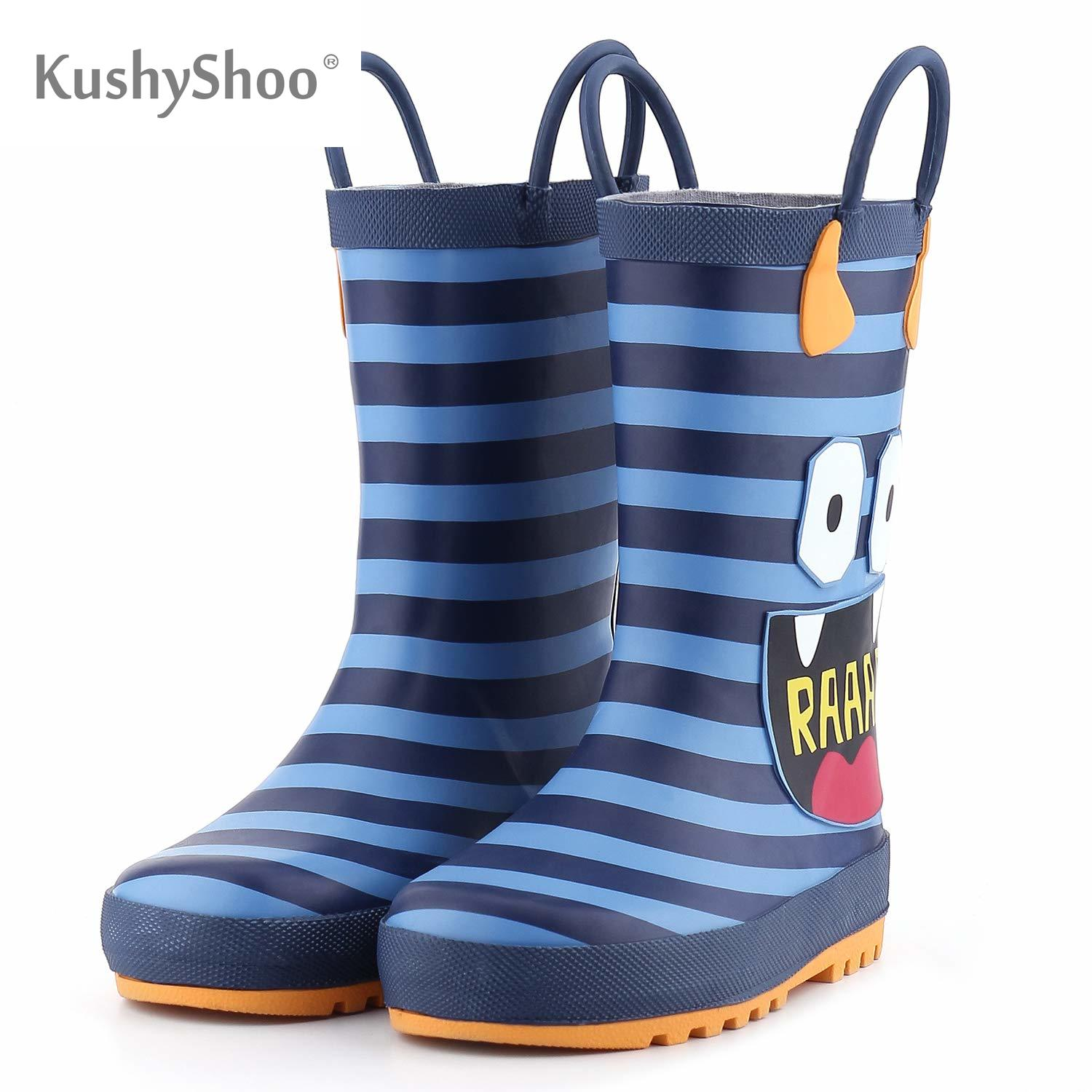 Kushyshoo Boys Boots Water-Shoes Monster-Printed Anti-Slip Toddler Kids Children's 3D