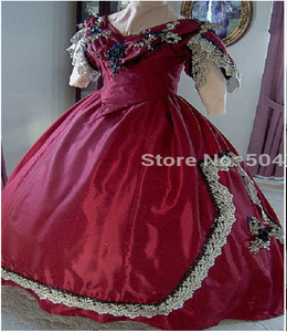 Freeshipping!R-160 19 century Vintage costume 1860S Victorian Lolita/Civil War Southern Belle Ball Halloween dresses All size