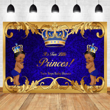 Twin African American Boys Baby Shower Backdrop Royal Blue Twins Princes Party Banner Photography Background
