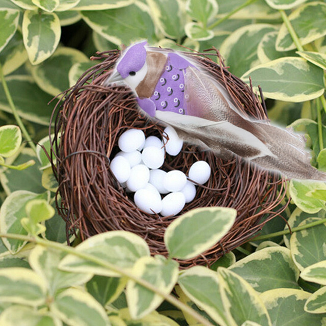 DIY Simulation Animal Model Parrot Bird Nest Egg Figurine Bonsai Home Decor Miniature Fairy Garden Decoration Accessories Modern 4