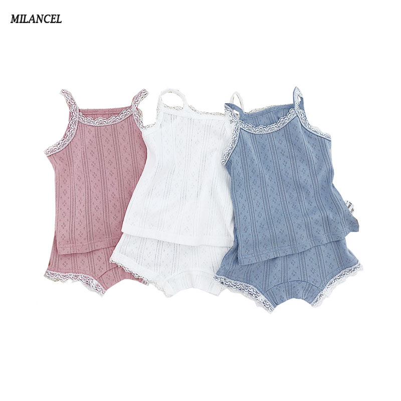 MILANCEL Kids Pajamas Lace Vest Shorts 2 Pcs  Girls Toddler Sleepwear Pijama Girls Summer Indoors Kids Clothing(China)