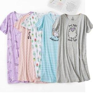 Brand Designer Homewear Women Casual Cartoon nightgown Ladies 100%Cotton nightdress Female Round collar Plus size sleep dress