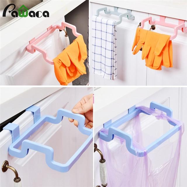 Hanging Kitchen Garbage Bags Storage Rack Trash Bag Holder Towel Rack Dish  Cloth Hanger Frame Holder