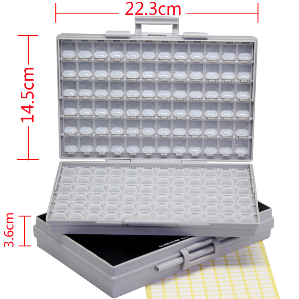 AideTek 2 Empty Enclosures Surface Mount Resistor Capacitor Organizer 0805 0603 0402 Lid plastic part box lables 2BOXALL 20pcs smd to dip 0805 0603 0402 smt to dip capacitor resistor led smt pinboard pcb 2 54pin pitch fr 4