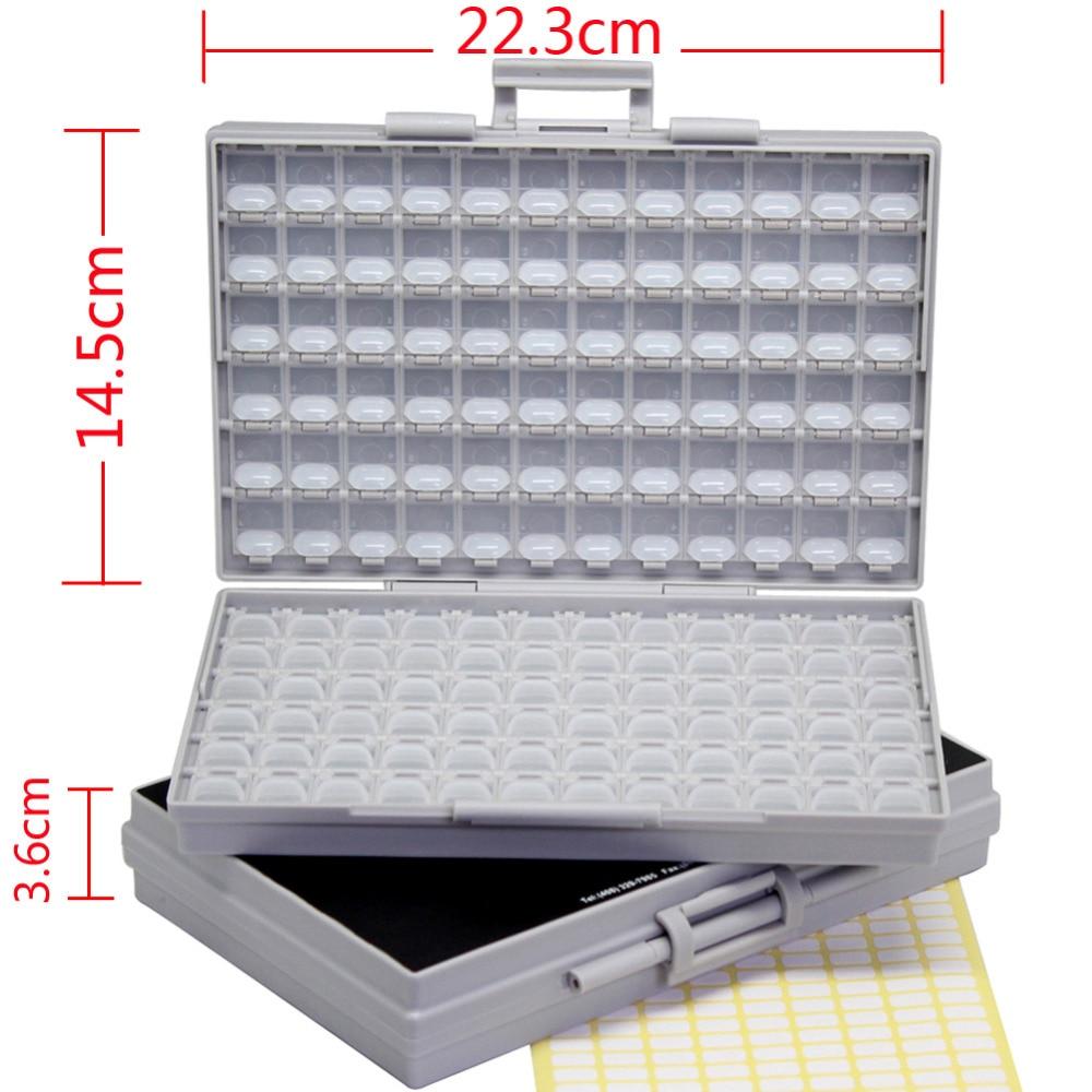 AideTek 2 Contenitori Resistore a montaggio superficiale Condensatore Elettronica Custodie e organizer per archiviazione 0805 0603 cassetta degli attrezzi in plastica 2BOXALL