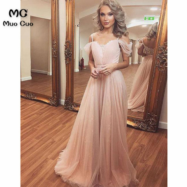 2018 Nude Pink Prom Dresses Long with Appliques vestido de festa Tulle  Short Sleeve Formal Evening Party Dress 76a35bc0c82b
