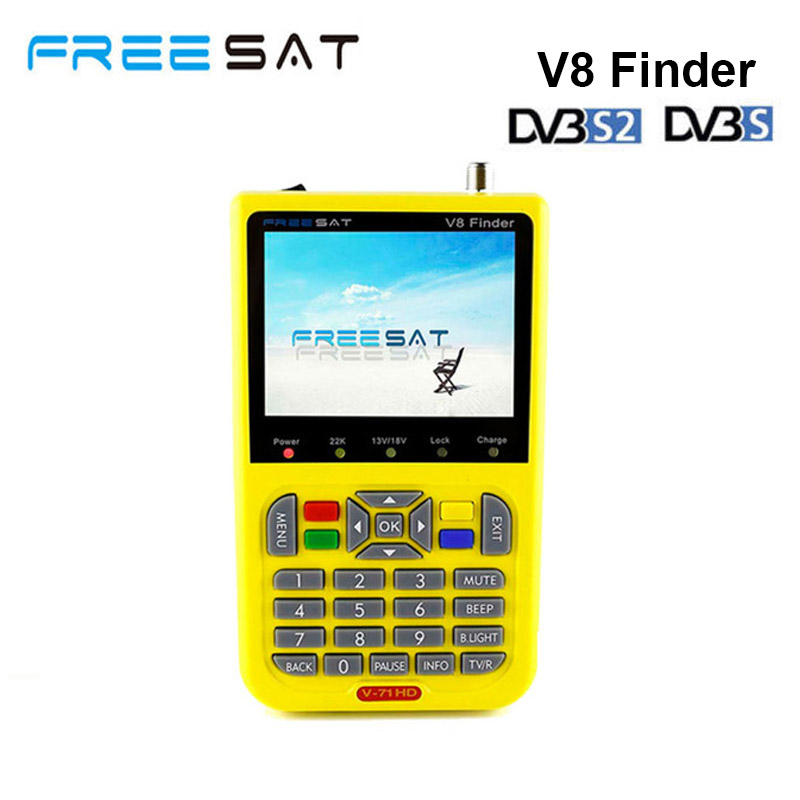 freesat v8 finder Full HD DVB-S/S2 Satellite Finder support Channel Search Russian Turkish Language sat finder with 3.5 inch LCD genuine hd dvb s2 freesat v8 satellite finder high definition satellite finder mpeg 4 v8 satellite meter finder
