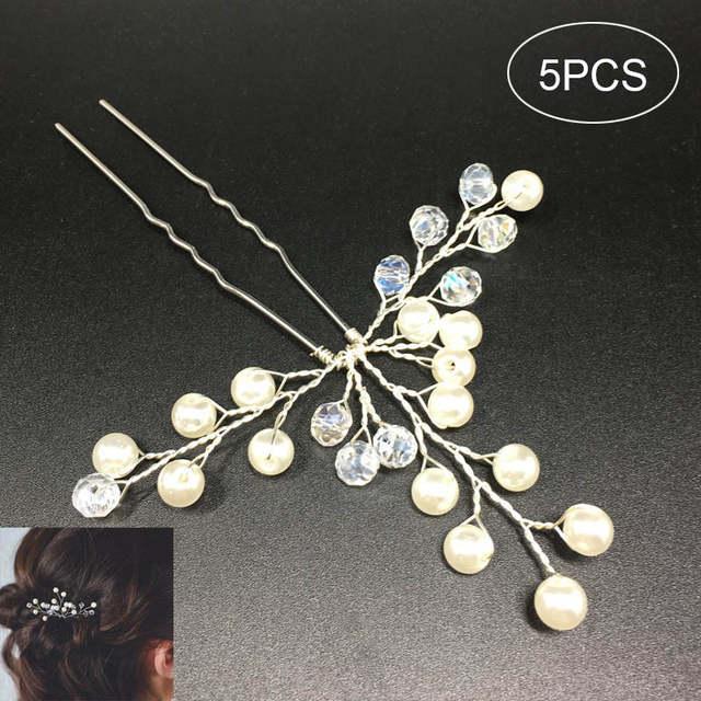 Online Shop 5 Pcs Set Wedding Bridal Hairpins Simulate Pearl Hair