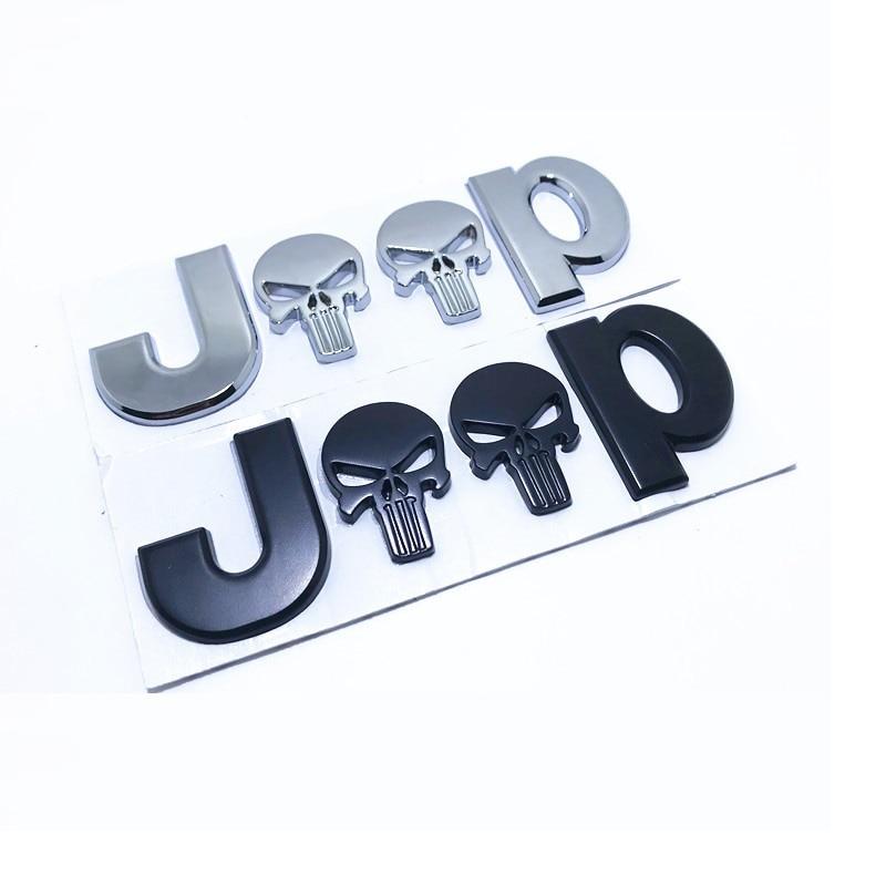 3D Metal Chrome Auto Car Sticker 4 Drive Skull Emblem Jeep Cherokee Badge Decals