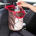 Basura del coche pueden recibir un cubo portable lindo de la historieta de interior del vehículo colgando recibir veces la cesta