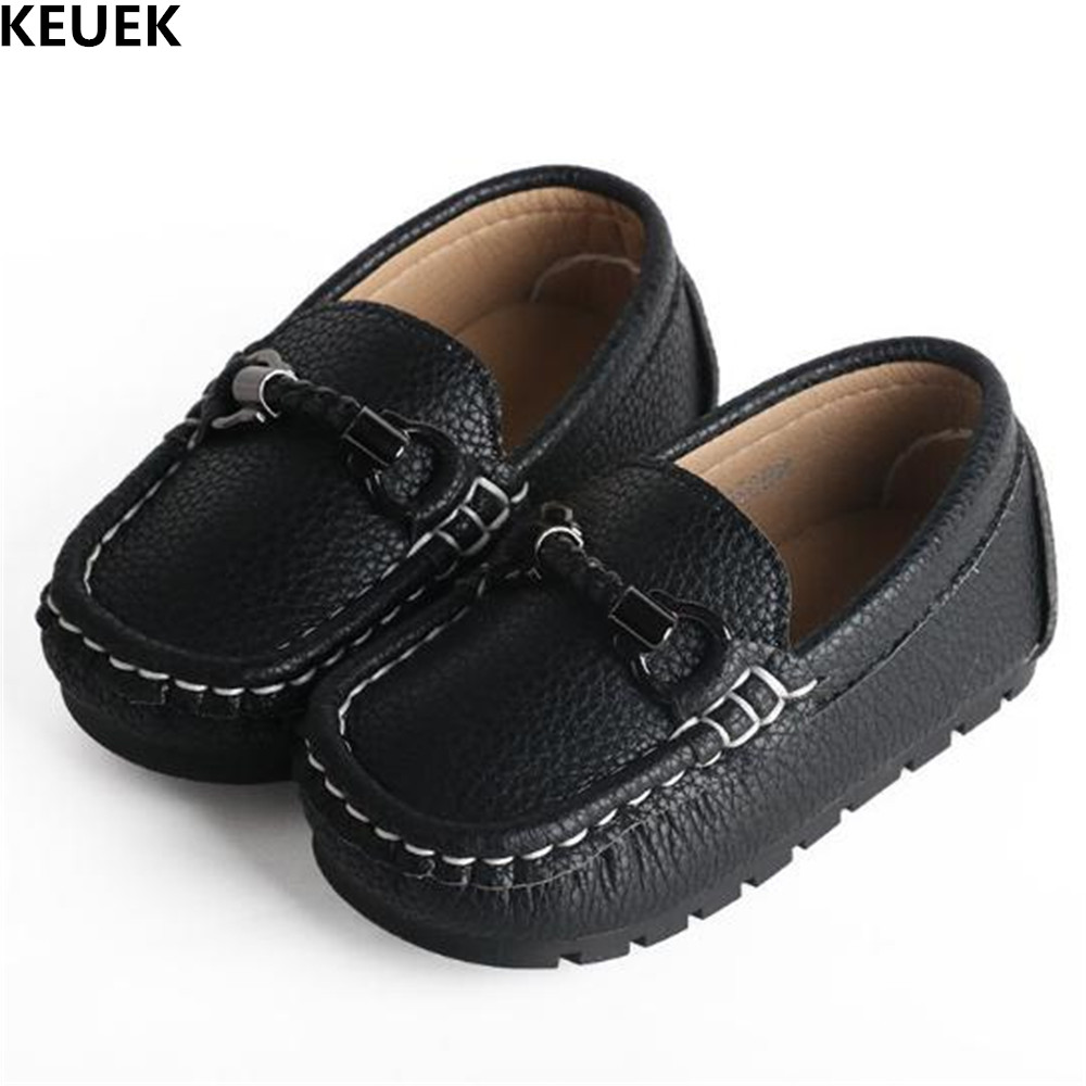 New Baby Slip-On Genuine Leather Children Shoes Toddler Black White Girls Loafers Boys Leather Shoes Kids Loafers Flats 02 2018 new genuine leather kids shoes boys mocassins fashion soft children shoes for boys girls casual flat slip on loafers