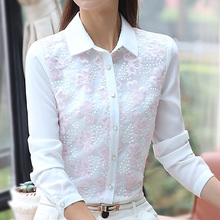 New 2017 Floral Embroidery Blouse Chiffon Women Shirt Long Sleeve Turn down Collar White Chiffon Shirts