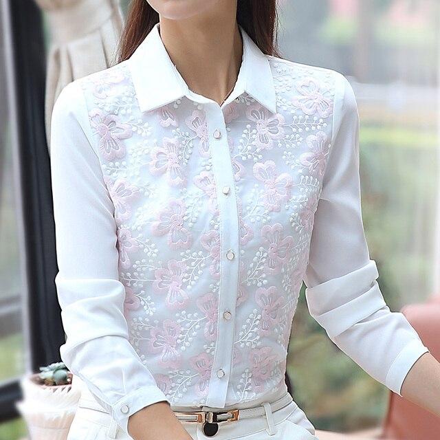 New 2017 Floral Embroidery Blouse Chiffon Women Shirt Long Sleeve Turn-down Collar White Chiffon Shirts Camisa Blusa feminino