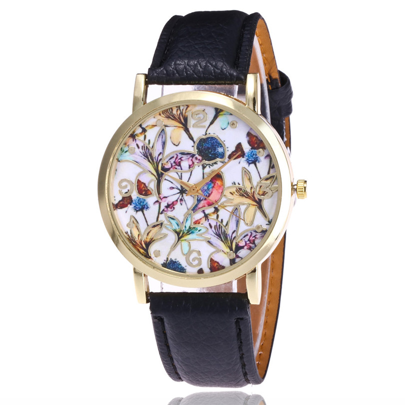 2017 Womens watch Flowers Pattern Leather Band Analog Quartz Vogue Wrist Watches brand new luxury clock gift for girls #7542801 popular women s flowers pattern faux leather analog ceramic style quartz watches no181 5v89 w2e8d