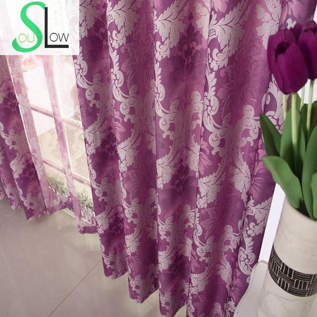 Slow Soul Purple Gold European Style Shading Europe Floral Tulle Curtains Cortinas For Living Room Kitchen