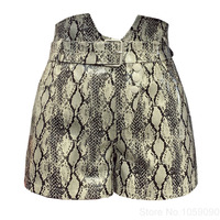 WISHBOP Woman PU Leather Snake Skin Printed Shorts High Waisted with Buckle Belt Fastening Back Pockets 2018fw Fashion Shorts