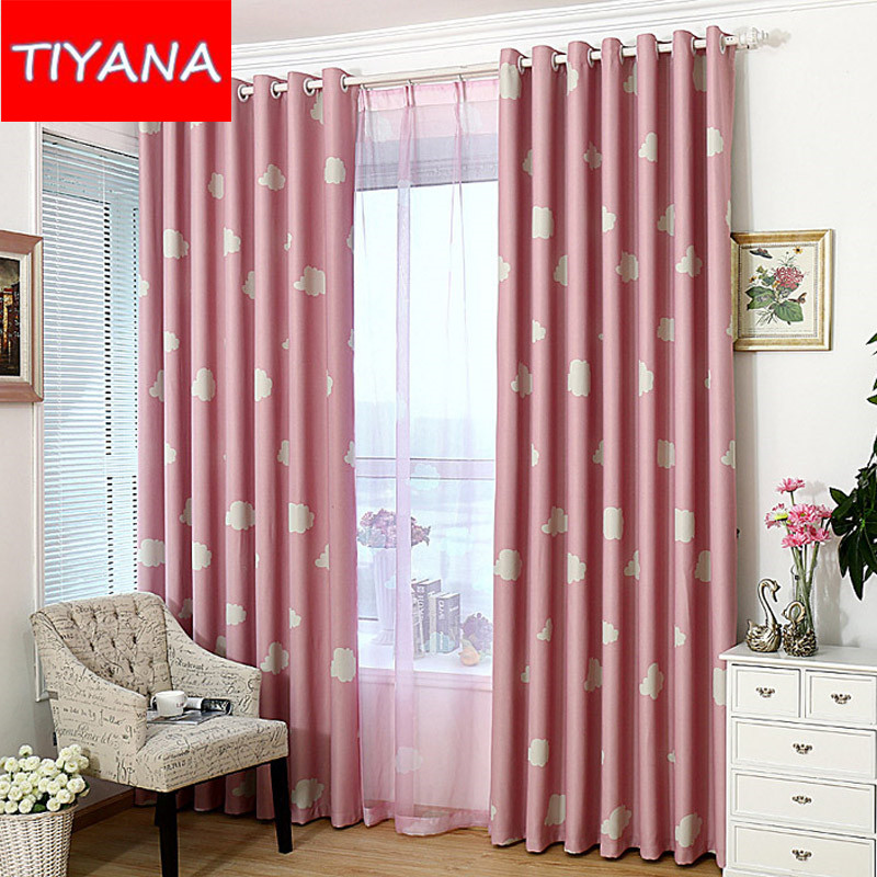 Delightful Blue Sky White Clouds Cartoon Calico Curtains Tulles For Living Room  Bedroom Childrenu0027s Room Full Blackout