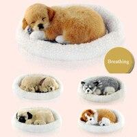 Simulation Animal Dog Bed Breathing Dog Pet Birthday Gift Sleepping Dog