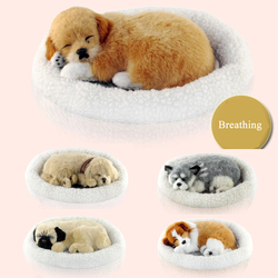 Cão simulação brinquedos de Pelúcia respiração cão brinquedos interativos sleepping cão brinquedos de Pelúcia de presente de aniversário do cão robô