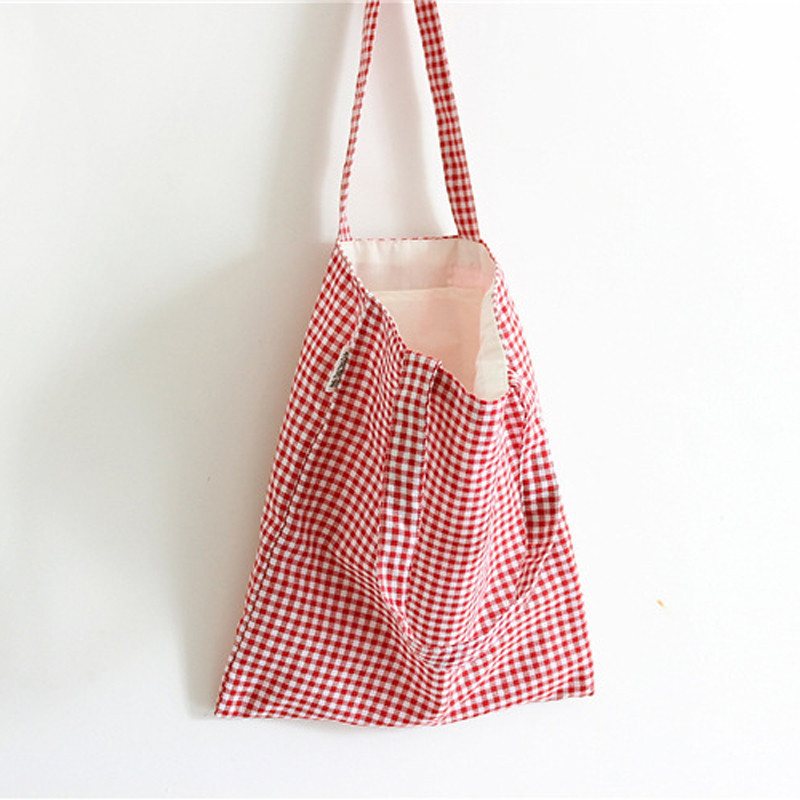 Women Storage Bags 35 x 37cm Canvas Classic Plaid Pattern Shopping Hanging Bag Household Pouch Organization Home 2018 Fashion