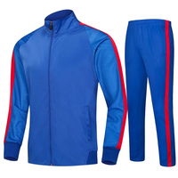 2019 long sleeve football training suit autumn and winter plus velvet men's jacket football pants youth football uniform