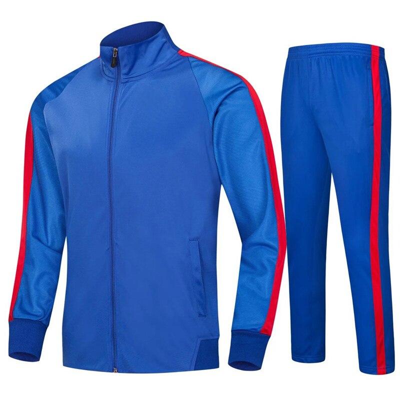 2019 long sleeve football training suit autumn and winter plus velvet mens jacket pants youth uniform