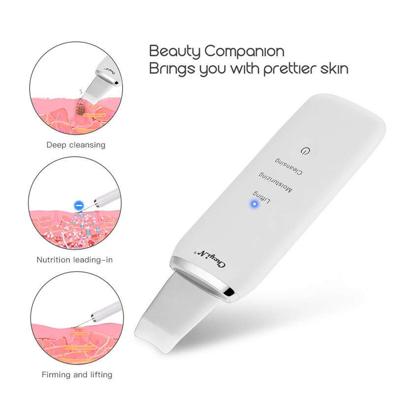 Professional Ultrasonic Skin Scrubber Ion Deep Face Cleaning Peeling USB Rechargeable Facial Care Device Beauty Instrument P40