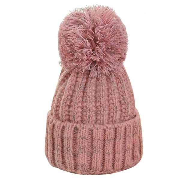 LICG Hot Winter Warm Women Lady Crochet Ski Cap Beret Beanie Bobble Woolen Knit Crochet Hat, Pink hot winter beanie knit crochet ski hat plicate baggy oversized slouch unisex cap