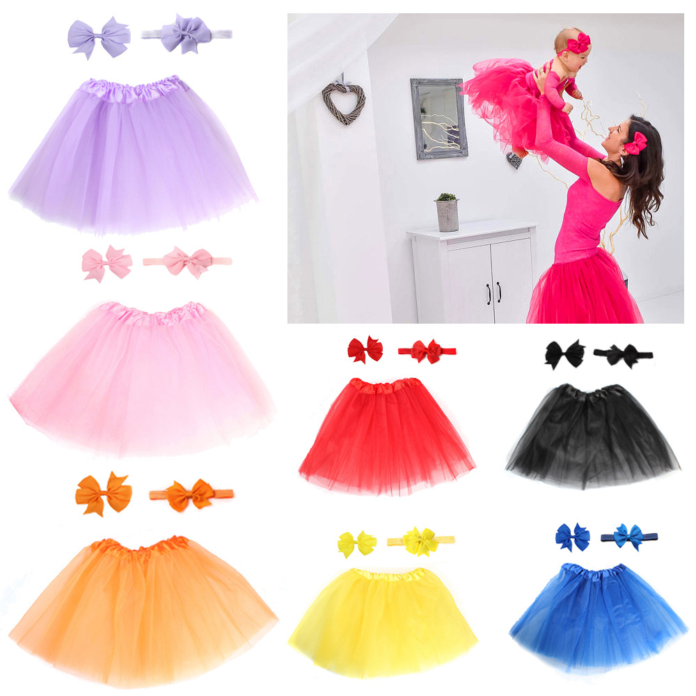 Baby Girl Tulle Tutu Skirt and Headband Hair Clip Sets Newborn Photography Props Newborn Baby Birthday Gift 13 Colors image