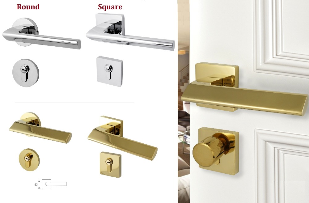 Premintehdw Round Square Chrome Golden Mortise Interior Door Rosette Lock Set Thumb turn (35-50mm thick door)