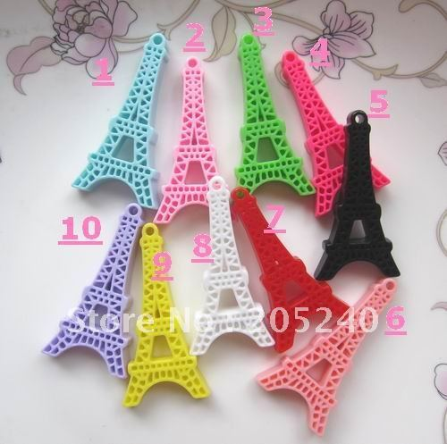 30pcs mixed  flat back resin eiffel tower for diy necklace decoration