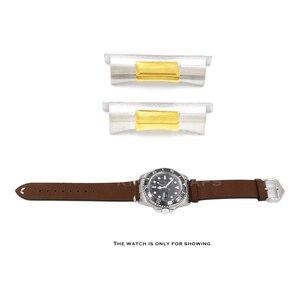 Image 4 - Rolamy 20mm כסף זהב שחור עלה זהב מוצק מעוקל סוף קישור עבור רולקס צוללן שעון להקת גומי עור