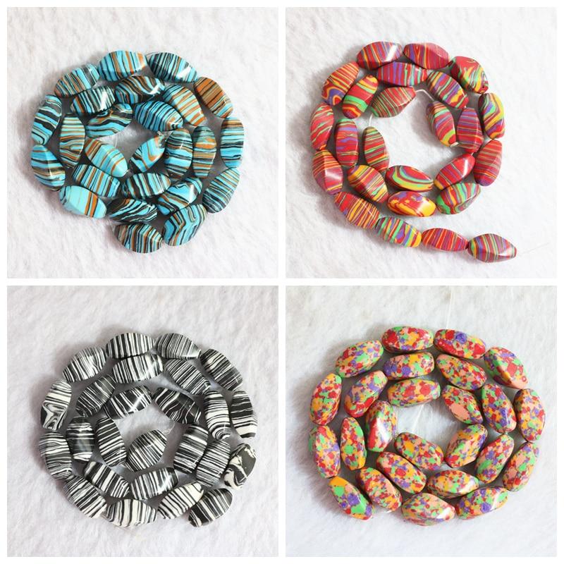 "Multicolor calaite turquoises stone 10x16mm twist rice loose beads wholesale/retail DIY jewelry 15""B778"