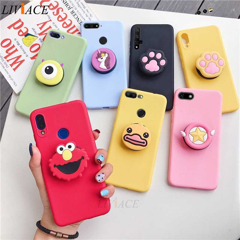 3D silicone cartoon case for huawei y9 y7 y6 y5 prime pro 2019 2018 girl cute phone holder stand soft cover funda coque