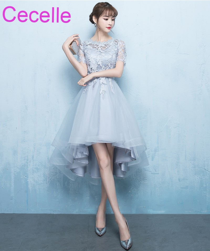 2019 Latest Silver Gray High Low Short   Cocktail     Dresses   With Short Sleeves Lace Tulle Girls Informal Short Prom Party   Dress