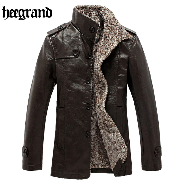 HEE GRAND 2017 High Quality New Style Fashion Male PU Leather Patchwork Fleece Jackets Men Casual Warm Overcoats MWP325