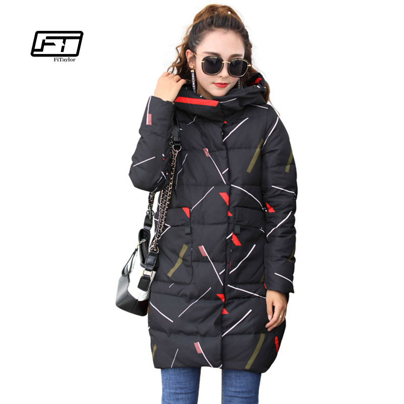 Fitaylor 2017 New Women Winter Jacket Geometry Warm Parkas Female Overcoat Outerwear Hooded Cotton Coat Loose Long Thick Parka fitaylor winter jacket women coats plus size thick cotton coat hooded parkas women winter coat warm long 3xl 4xl 5xl overcoat
