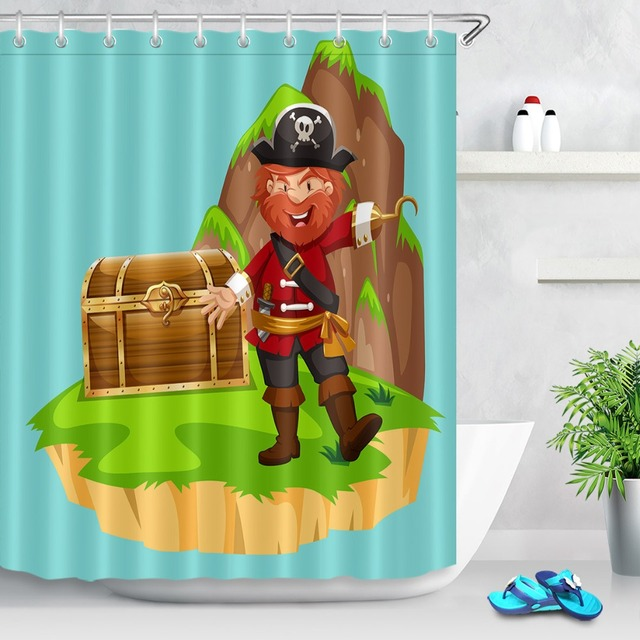LB Funny Pirate Treasure Chest Island Shower Curtain Cartoon Anime Kids Bathroom Waterproof Polyester Fabric For Bathtub Decor