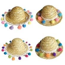 Urijk соломенная шляпа для питомцев, собак, кошек, летняя крутая модная уличная Защита от солнца, котенок, товары для щенков, аксессуары для питомцев, маленькие собаки, кошки
