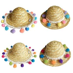 ae927415 Straw Hat Summer Sun Puppy Pet Accessories small Caps