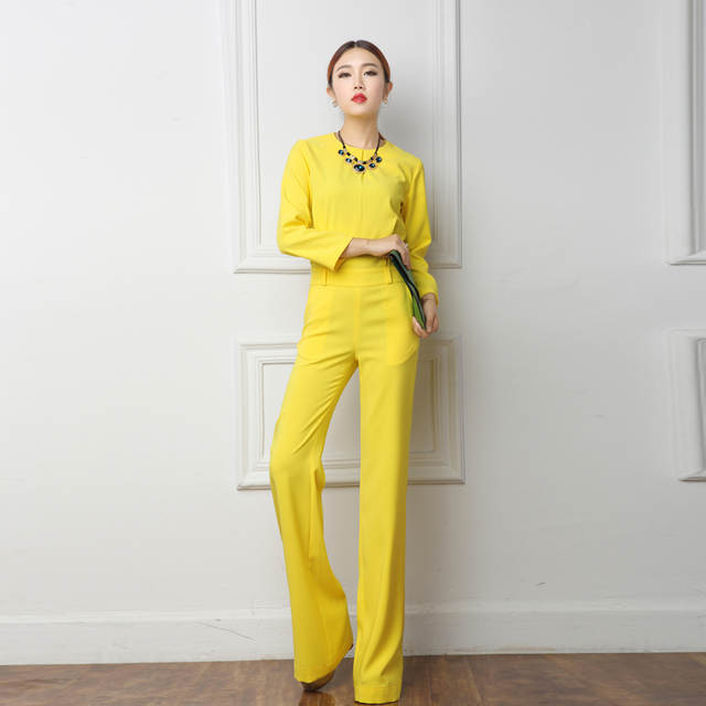 e3d0a20ba5 placeholder 2018 Spring Office Lady Women One Piece Outfits Jumpsuits Long  Sleeve Loose Wide Leg Pants Sexy