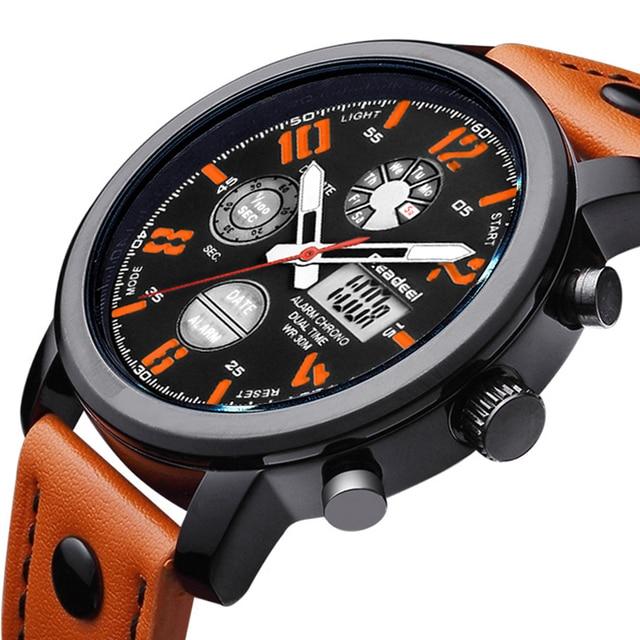 2019 Luxury Brand Quartz Men Sport Watches Dual Display Led Digital Watch Genuine Leather Clock Male Waterproof Man Wristwatches
