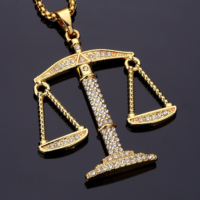 Hip hop jewelry justice balance scales pendant necklace men women hip hop jewelry justice balance scales pendant necklace men women rhinestone rocket pendant necklace gold color mozeypictures Image collections