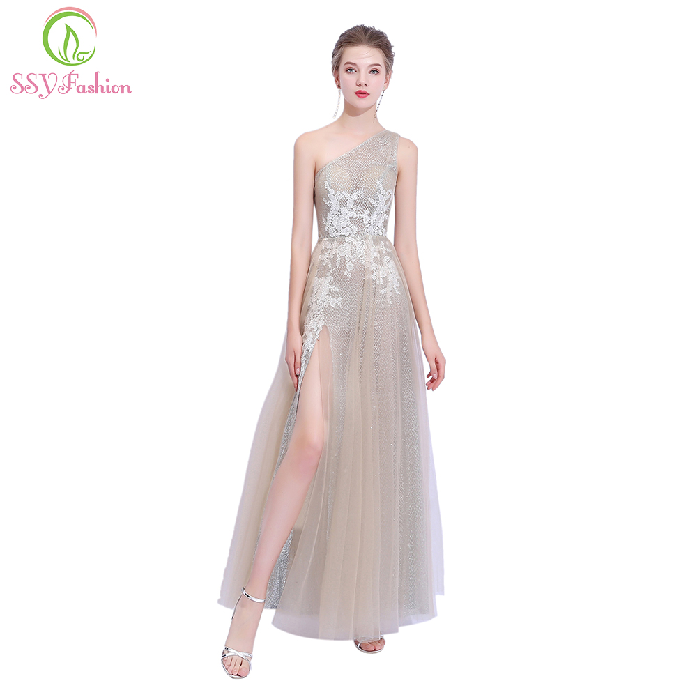 SSYFashion New Luxury Champagne   Prom     Dress   One Shoulder Floor-length Sequins Lace Appliques Sexy Evening Party Gown Formal   Dress
