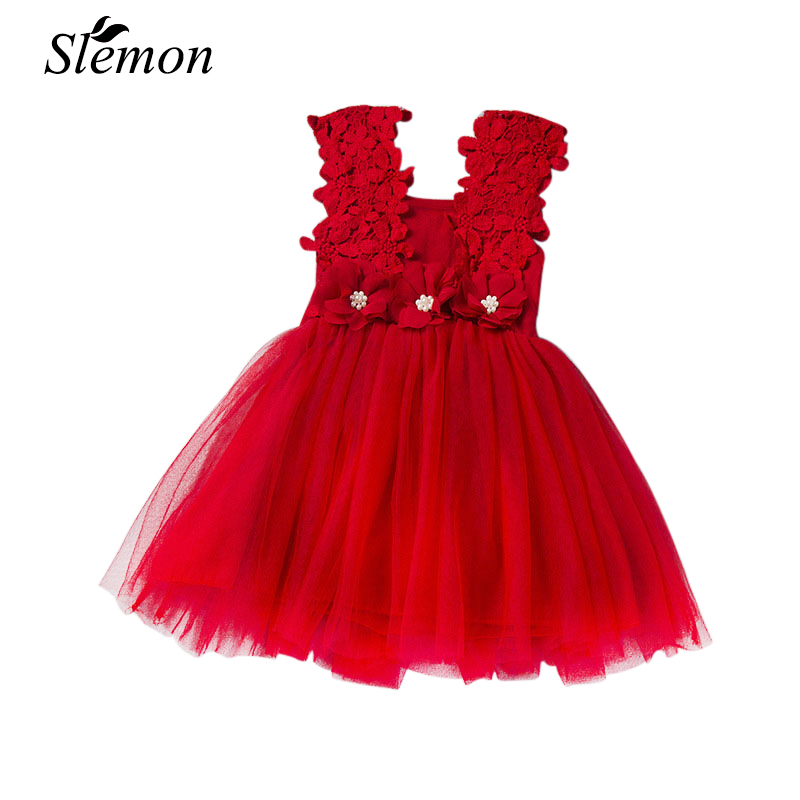 2018 Summer Kids Flower Girls Mesh Dress Lace Party Clothes Princess Pearl Tutu Children 2 3 4 5 6 7 Years Vest Elegant Dresses 2016 new summer girls kids rose flower princess sleeveless party elegant tutu lace dress cute baby clothes children clothing